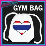 THAILAND HEART FLAG HEART LOVE GYM DRAWSTRING WHITE GYMSAC BAG